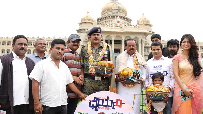 dhairyam audio launched by farmer, soldier and student