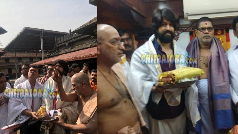 kgf team visits temple before movie release