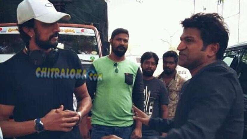 puneeth visits kotigobba 3 set