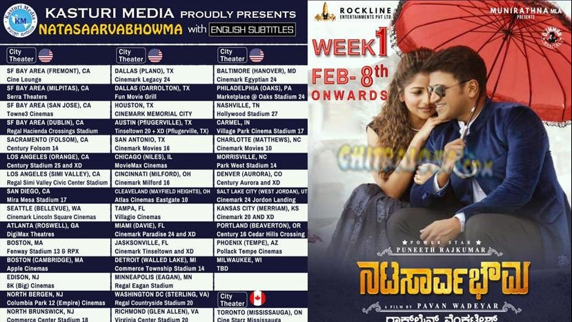 natasarvabhouma release in america and canada