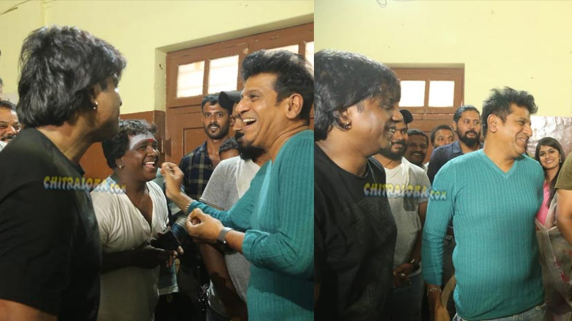 shivarajkumar's surprise visit to the sets of salaga